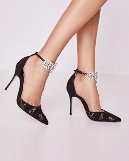 Czarne szpilki z kryształami Sicariatala