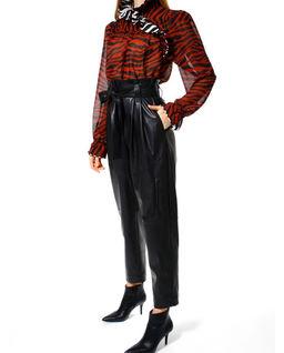 Spodnie paperbag z wegańskiej skóry Carrie