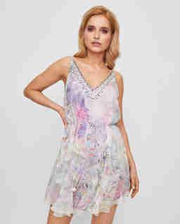 Jedwabna sukienka z kryształami
