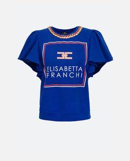 T-shirt z ozdobnym łańcuchem