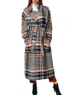Płaszcz wełniany w kratę Stephanie