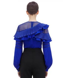 Kobaltowa bluzka z falbanami