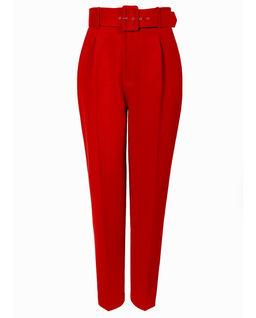Czerwone spodnie w kant