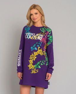 Fioletowa sukienka we wzory