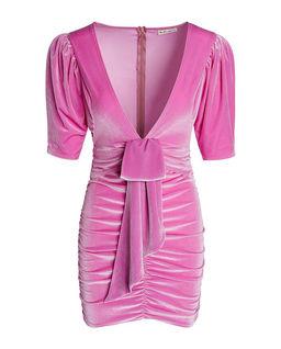 Różowa welurowa sukienka Lola