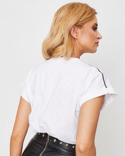 Biały t-shirt z połyskującym logo