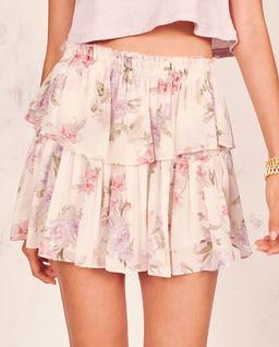 Jedwabna spódnica w kwiaty Ruffle
