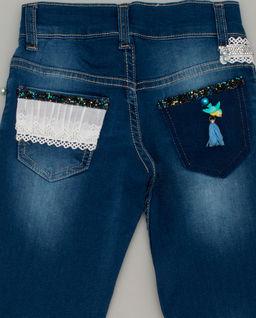 Jeansy granatowe z koronką