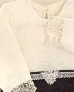 Sukienka  biało - grafitowa z dzianiny