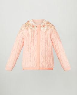 Sweterek łososiowy z koronką