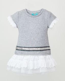 Szara sukienka bawełniana z koronką
