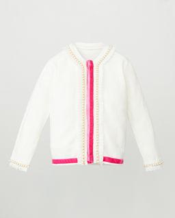 Biały sweter z perłami