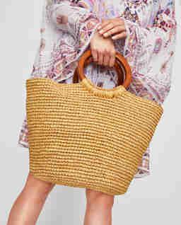 Béžová slaměná kabelka