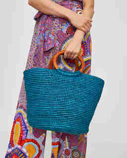 Modrá  slaměná kabelka