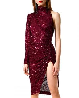 Cekinowa  asymetryczna sukienka z rozporkiem