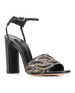 Czarne sandały na obcasie Catanasse