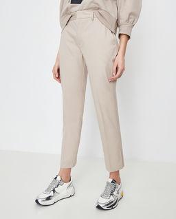 Beżowe spodnie z rozcięciem