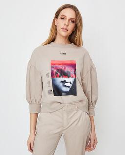 Beżowa bluza z nadrukiem