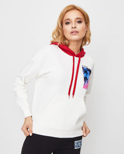 Biała bluza z kontrastowym kapturem Stracciatella