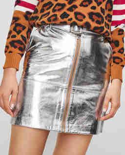 Spódnica srebrna ze skóry