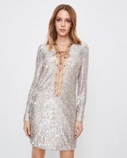 Cekinowa sukienka z wiązaniem