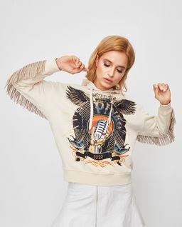 Beżowa bluza z frędzlami Tabasco