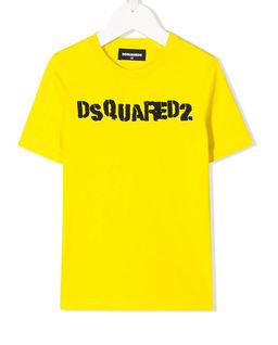 Żółty t-shirt z logo 4-14 lat