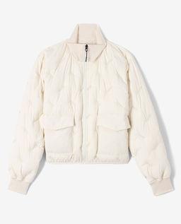 Beżowa pikowana kurtka puchowa
