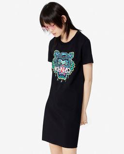 Czarna sukienka z tygrysem