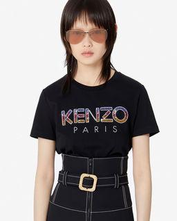 Czarny t-shirt z cekinowym logo
