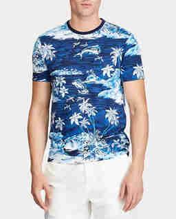 Niebieska koszulka z tropikalnym motywem