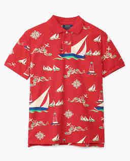 Czerwona koszulka z nadrukiem Slim Fit