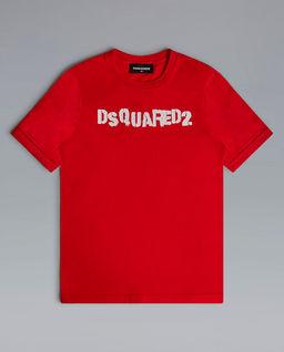Czerwony t-shirt z logo 4-14 lat