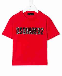 Czerwona koszulka z ozdobnym logo 4-16 lat
