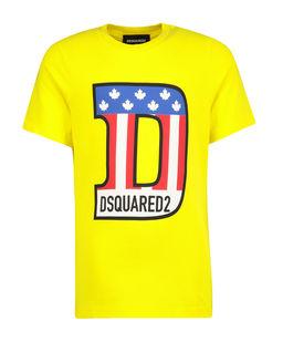 Żółty t-shirt z kolorowym nadrukiem 4-12 lat