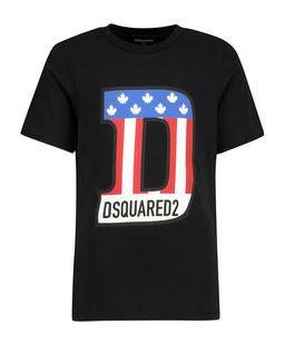 Czarny t-shirt z kolorowym nadrukiem 6-16 lat