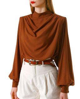 Karmelowa bluzka z cupro Karen