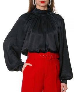 Czarna satynowa bluzka Maurycja