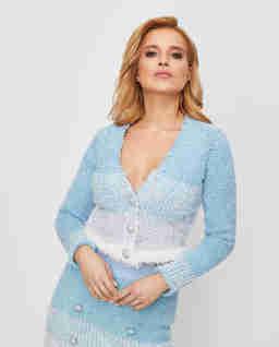 Niebieski cardigan teksturowany Agone