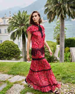Czerwona długa sukienka boho Westeros