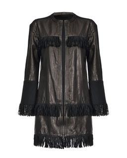 Skórzany płaszcz z frędzlami Mazinga