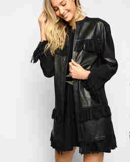 Kožený kabát s třásněmi Mazinga