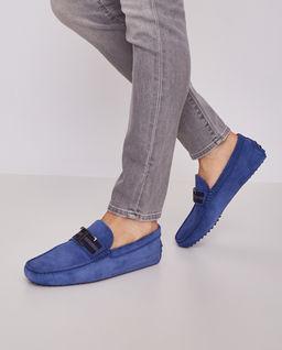 Niebieskie loafery z logo
