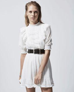 Kremowa sukienka z falbankami