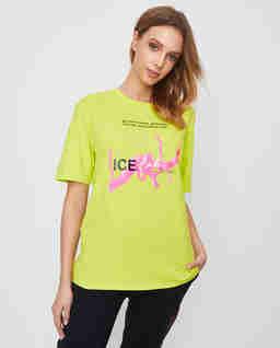 T-shirt fluo z nadrukiem