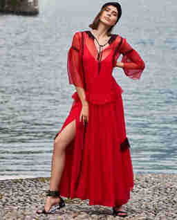 EDEDYCJA LIMITOWANA - Czerwona sukienka z jedwabiu maxi Cersei
