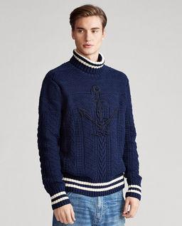Granatowy sweter z kotwicą