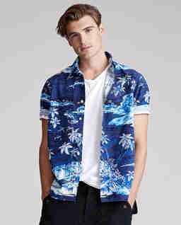 Koszula w tropikalny wzór Slim Fit
