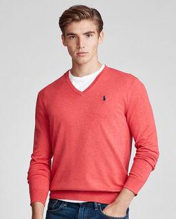 Czerwony sweter w serek