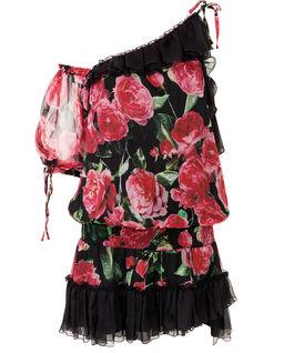 Jedwabna sukienka w kwiaty z falbanami Meereen